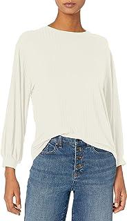 Daily Ritual Sudadera de rayón y Elastano con Manga de blusón, canalé Ancho Camisa para Mujer