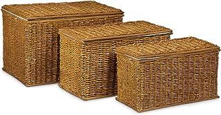 Relaxdays Malle lot de 3 en palmier tressé capacité 71 L coffre de rangement empilable panier à linge marron doré