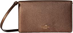 COACH - Fold-Over Crossbody Clutch in Metallic Leather