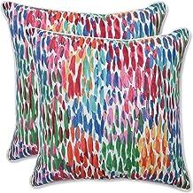 Pillow Perfect Outdoor | Indoor Make It Rain Zinnia 16.5 Inch Throw Pillow, 16.5 X 16.5 X 5, Blue
