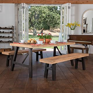 Christopher Knight Home 299937 Arlington | Acacia Wood Dining Set | in Brushed Grey, Color: Natural Grain