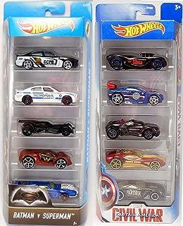 Captain America + Batman VS Superman Hot Wheels - Exclusive Car Set 5 Car Civil War Pack + 10 Car Marvel VS DC