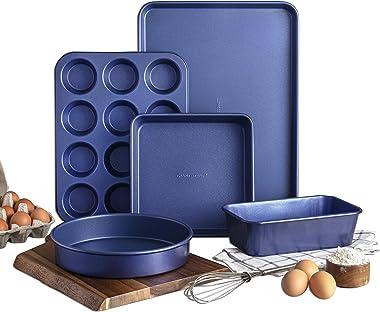 Granitestone Nonstick Bakeware Set, 5 Piece Chef's Size Bakery Quality Baking Set, Even Heat & Non-Warp Technology, Includes