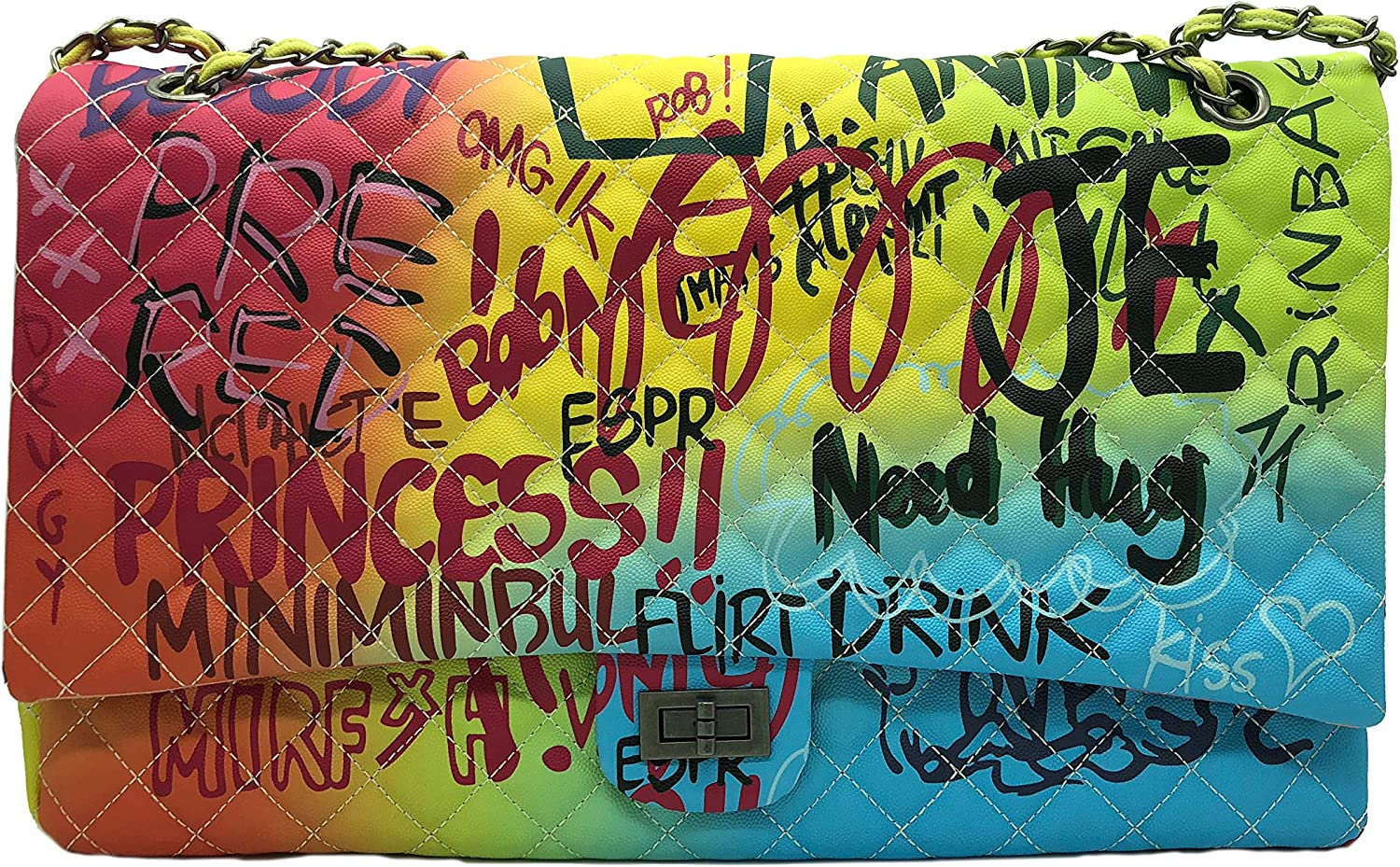 Color Graffiti Printed Max 64% OFF Max 79% OFF Shoulder Big Fashion Large T Quilted Bags