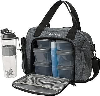 Fit & Fresh Jaxx FitPak Commuter Meal Prep Bag with Shoulder Strap, Portion Control Containers & 24 oz Shaker Bottle