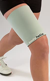 Body Helix Thigh Compression Sleeve - Full Thigh Helix Support Sleeves Wraps (Silver, Small)