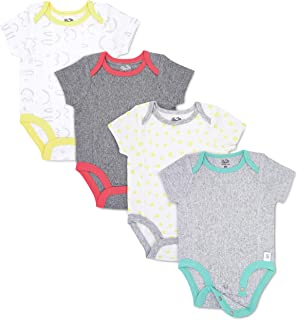 Baby 4-Pack Short-Sleeve Grow & Fit Bodysuits, Unisex Girls Boys