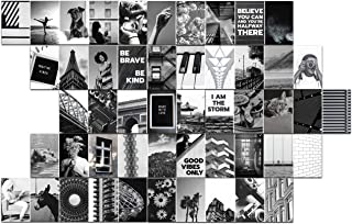 50-Pack Set Black and White Aesthetic Wall Collage Kit.