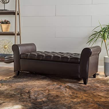 """Christopher Knight Home Keiko Contemporary Rolled Arm Storage Ottoman Bench, Brown and Dark, 19.75""""D x 50.00""""W x 20.5""""H"""