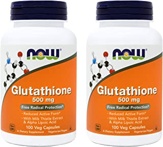 Now Glutathione 500 mg, 100 Vegan Capsules (Pack of 2) - Reduced Form GSH Supplement - Enhanced with Milk Thistle Extract ...