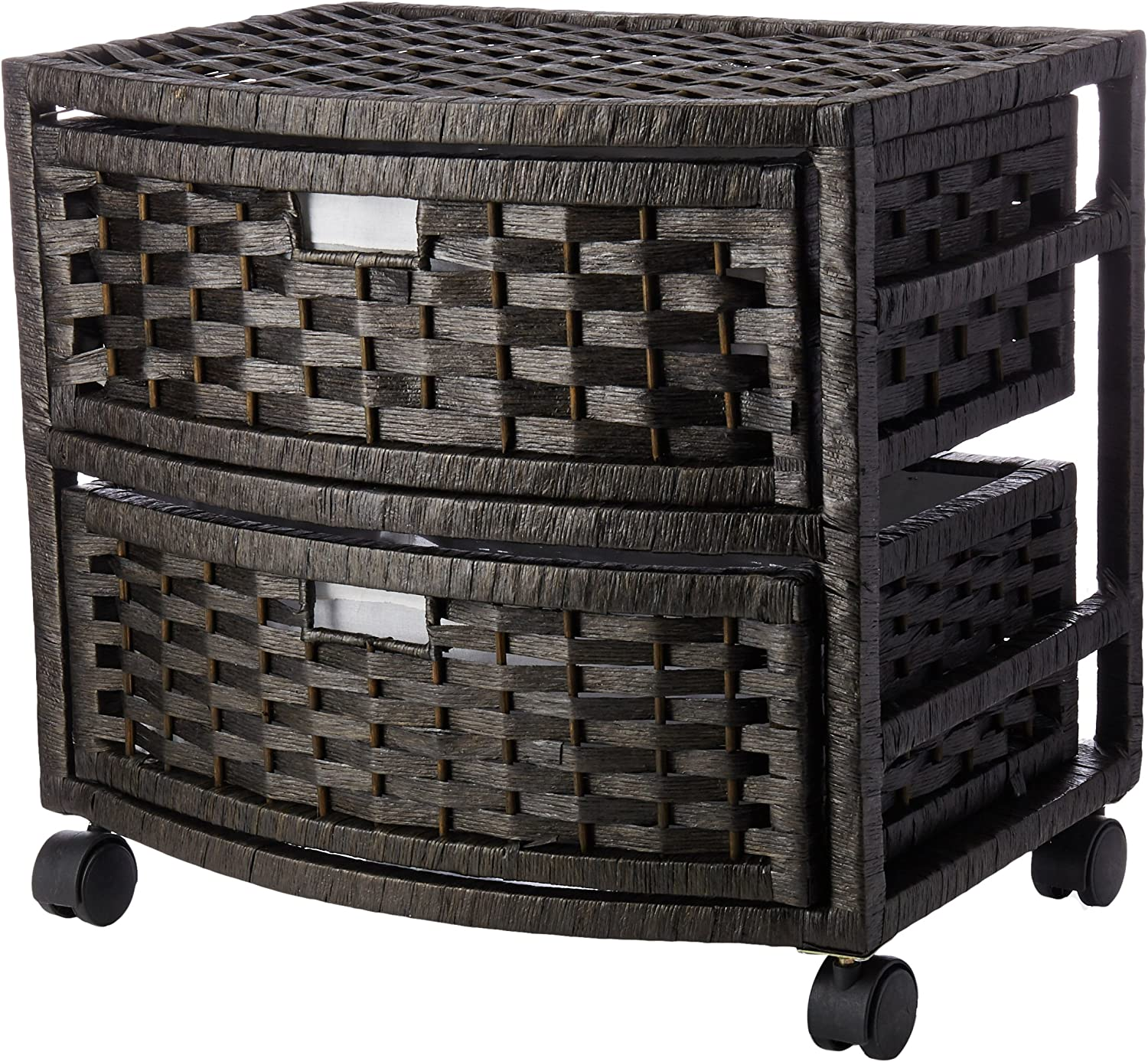 Oriental Furniture 16  Natural Fiber Occasional Chest of Drawers - Black