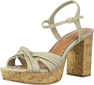 Women's Marcia Peep-Toe Chunky Heel Sandal with Back Strap and Bow Detail Heeled