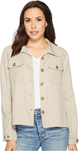 Flyaway Shirt Jacket with Patch Pockets  in Textured Tencel