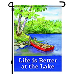 Home4Ever Summer Garden Flag - 12.5 x 18 Inch Double-Sided Printed Welcome Garden Flag with Life is Better at the Lake Text - Premium House Outdoor Yard Art Seasonal Banner - Suits Standard Flag Poles