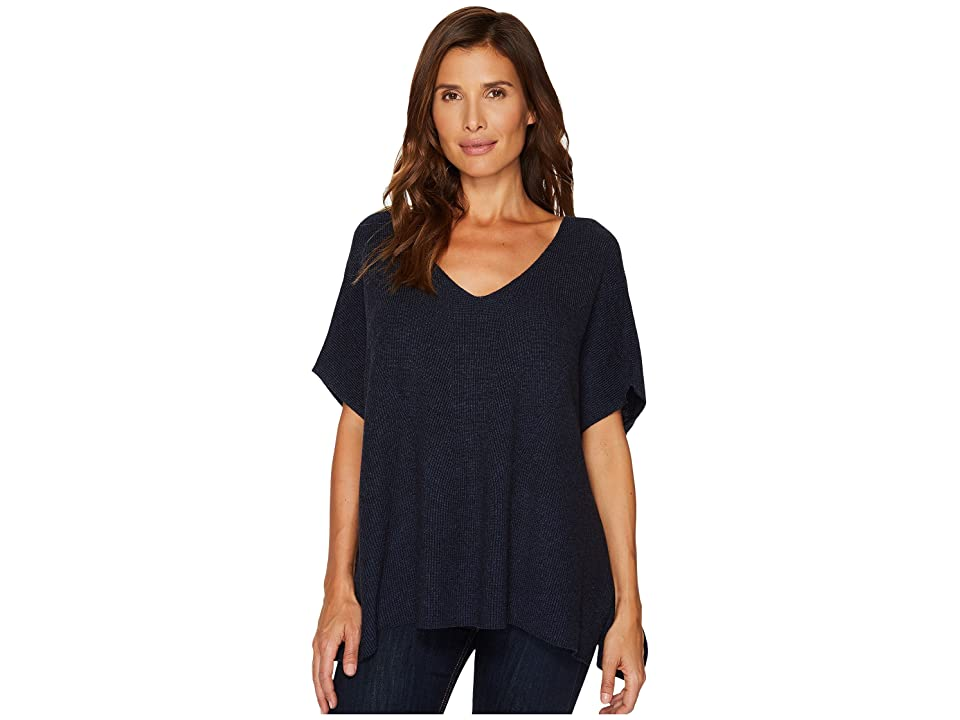 TWO by Vince Camuto Short Sleeve Plaited Traveling Stitch Boxy Pullover (Indigo Heather) Women