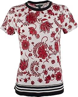 LAUREN RALPH LAUREN Womens Plus Linen Floral T-Shirt White 2X