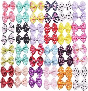 YAKA 50Pcs/25Paris Cute Puppy Dog Hair Bows with Clips Bows Bowknot Dog Topknot 2.24