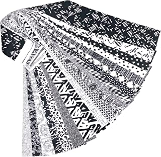 Black and White 20 Jelly Roll Fabric Strips 2.5 X 43 Inch No Duplicates