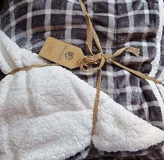 Montauk Luxury Velvet Reversible Queen/Full Blanket-Charcoal & White Plaid
