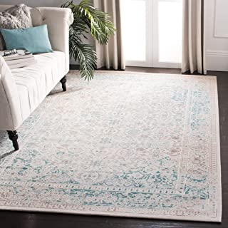 Safavieh Passion Collection PAS405B Oriental Vintage Watercolor Turquoise and Ivory Distressed Area Rug (9' x 12')