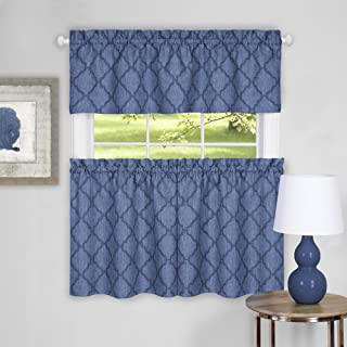 """Achim Home Furnishings Colby Window Curtain Tier Pair and Valance Set, 58"""" x 36"""", Blue"""