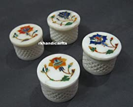 rkhandicrafts 2.5 Inches Marble 4 Pieces Set Jewelry Box Multi Use Box Abalone Shell Multi Color Stones can be Used for Birthday Gift Inlay Art Work