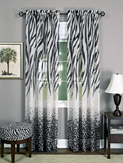 Achim Home Furnishings, Black/White, Kenya Window Curtain Panel, 50 x 84-Inch