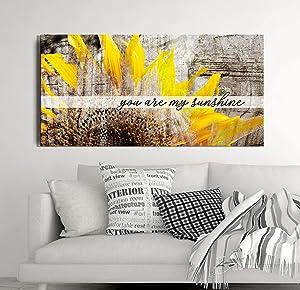 Sense Of Art  You Are My Sunshine Sunflower  Wall art for living room  Large wall art  Flower wall art  Canvas art wall decor   Yellow Room Decor (Brown, 42x19)