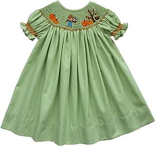 Thanksgiving Girls Bishop Dress Hand Smocked Pumpkins Patch Scarecrow