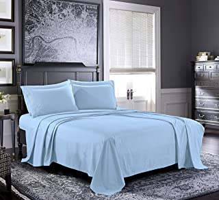 Fresh Linen Queen Sheets [4-Piece, Light Blue] Hotel Luxury Bed Sheets - Extra Soft 1800 Microfiber Sheet Set, Wrinkle, Fade, Stain Resistant - Deep Pocket Fitted Sheet, Flat Sheet, Pillow Cases