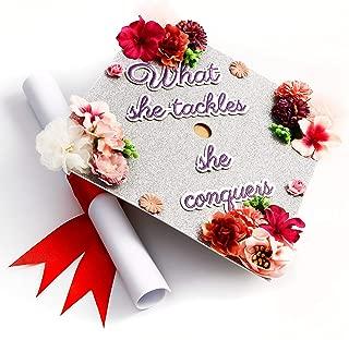 GradWYSE Handmade Graduation Cap Topper Graduation Gifts Graduation Cap Decorations, What She Tackles She Conquers Silver