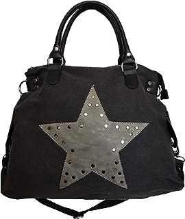 JameStyle26 Star Bag Vintage in tela shopper alla moda borsa da donna in stile vintage con stella stampata sopra e manici