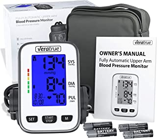 Upper Arm Blood Pressure Monitor by Veratrue - Includes: Fully Auto Monitor, Fit-