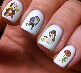 Nail Art Decals Set 3D DIY Beauty and The Beast Belle Rose Disney Cartoon - Original Beauty Fashion Style Design Decoration Water Transfer- The best products for kids, teens, girls and women