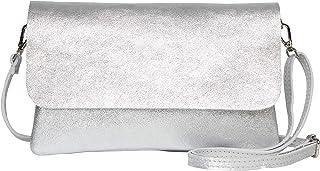 AmbraModa GLX11 - Damen Umhängetasche, Clutch, Handytasche aus echtem Leder mit abnehmbarem und verstellbarem Schultergur...