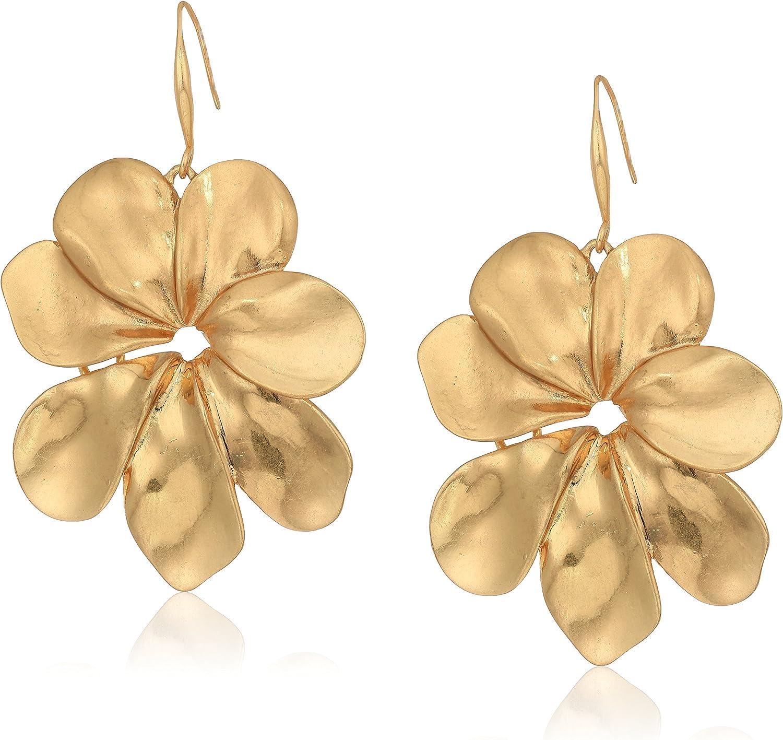 Robert Lee Morris Women's Sculptural Flower Gold Drop Earrings, One Size