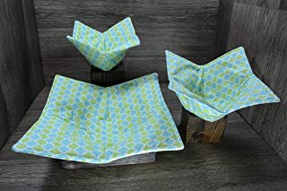 Microwave Bowl Cozies, Set of 3, 1 Small Bowl Cozy, 1 Medium Bowl Cozy and 1 Dinner Plate Cozy, Refreshing Lime