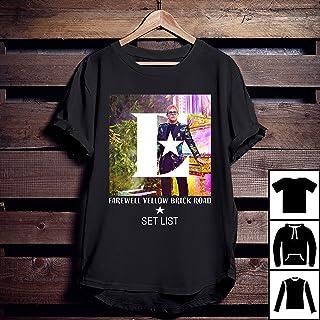 12a229217 Elton John Tour Farewell Yellow Brick Road Set List T-Shirt, Long T-