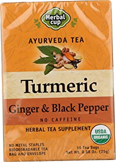 HERBAL CUP TURMERIC GINGER & BLACK PEPPER TEA - 16 Tea Bags ORGANIC