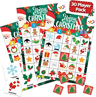 Christmas Holiday Bingo Game for Kids, Adults and Large Groups - 30 Players - Xmas Winter Bingo Cards Indoor Home Family A...