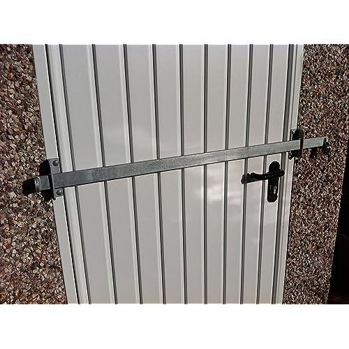 GARDEN SHED LOCK BAR, FACTORY/GARAGE/ OFFICE DOOR SECURITY - HEAVY DUTY STEEL - GALVANISED FINISH (1500mm)