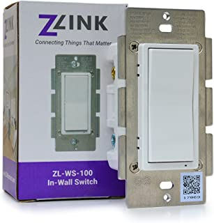 ZLINK, ZL-WS-100, Z-Wave Plus In-Wall On/Off Switch, SmartStart, S2 Security, Instant Status, Repeater, Compatible with Alexa, Google Home, SmartThings, Wink, Vera and others