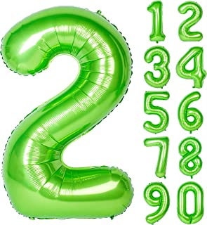40 Inch Green Large Numbers 0-9 Birthday Party Decorations Helium Foil Mylar Big Number Balloon Digital 2