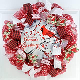 Cardinal Christmas Wreath | Season's Greetings Mesh Outdoor Front Door Wreath; White Red Snow