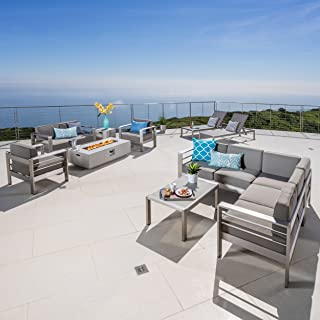 Coral Bay Outdoor Sofa and Chat Set with Lounges and a Light Grey Firepit