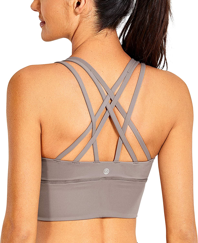 CRZ YOGA Women's Medium Impact Wirefree Padded Strappy Longline Sports Bras