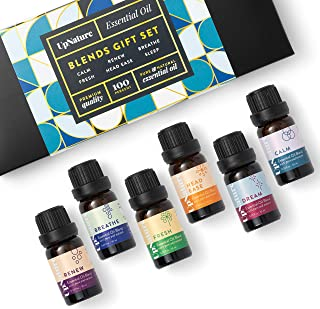 Pure Oil Blends Essential Oils Set - Breathe, Calm, Head Ease, Dream, Renew, Fresh - Stylish Essential Oil Kit - Diffuser Oils Set for Aromatherapy
