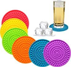 Colorful Coasters for Drinks Absorbent, Rubber Drink Coaster Set, Silicone Rainbow Coasters for Kids Coffee Table Desk, 4.3 Inch Oval Shape Deep Tray Pot Holder Trivet (Set of 6)