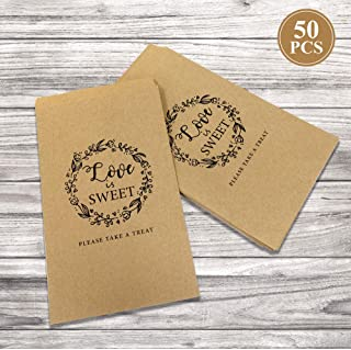 50Pcs Wedding Favors Candy Buffet Bags - Brown Kaft Paper Wedding Favor Rustic Bags Good for Treat Snacks or Cookie Buffet...