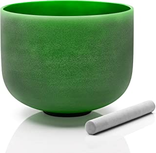 TOPFUND Perfect Pitch F Note Green Color Crystal Singing Bowl Heart Chakra 10 inch O-ring and Suede Striker included